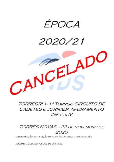 CANCELAMENTO DO TORREGRI 1- 1º TORNEIO CIRCUITO DA CADETES e JA de INF e JUV