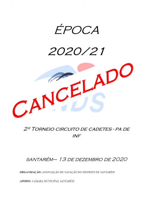 CANCELAMENTO 2º TORNEIO CIRCUITO DA CADETES e JA de INF